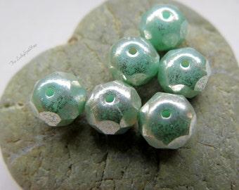 NEW MINTY MERCURY Glass . Czech Metallic Glass Beads (10 beads) 6 by 8 mm