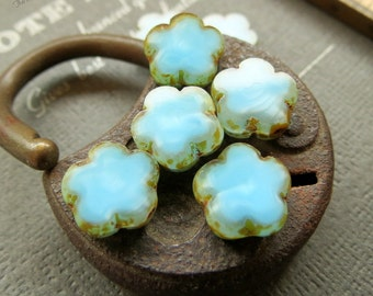 Last Ones LITTLE CLOUDS . Czech Picasso Glass Beads (10 beads) 10 mm