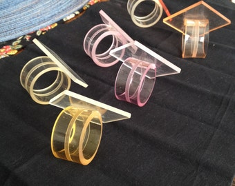 Lucite Napkin Rings Square/Diamond Shape Mod Pink Yellow Clear Tint Set of Six
