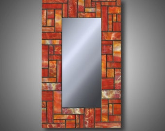 "Stained Glass Mosaic Mirror - Autumn Orange - Modern Decor - Uroboros Stained Glass 10.5"" x 18"" Art Glass - Home Decor - Decorative"