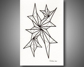 4 x 6 Original Freehand Drawing - black and white home decor - modern contemporary - abstract art - tabletop art - unframed (A134)