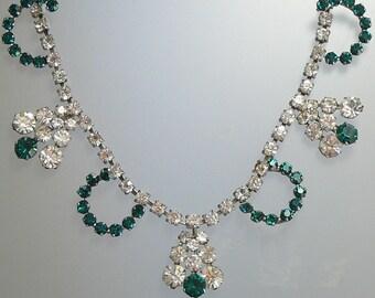 Emerald Rhinestone Crescents Bib Necklace Vintage Choker