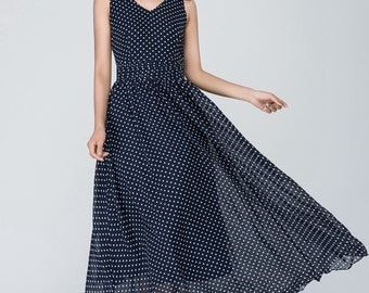 polka dot dress, illusion prom dress, navy white dress, Chiffon dress, Women dresses, maxi dress, sleeveless dress, V neck dress 1557