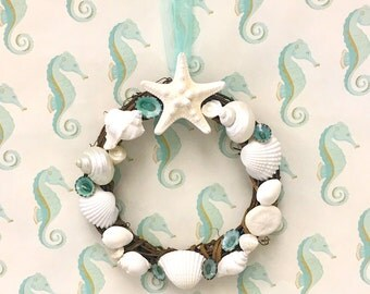 Seashell Wreath with Starfish - Beach Decor/Coastal Wreath/seashell wreath/sea shell wreath/starfish/star fish