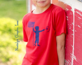Patriotic Sleeved Crew by Nostalgic Graphic Tees in Red with Navy
