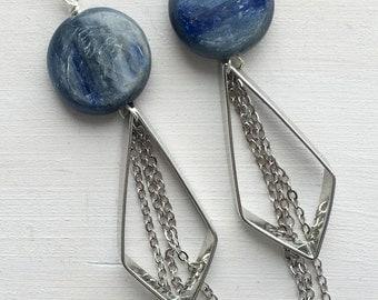 Kyanite Silver Diamond Tassel Earrings | E11621