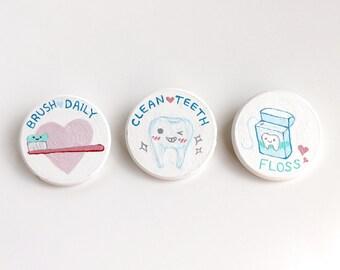 Cute Dentistry Wooden Brooch Pin Trio - 3 Piece Set