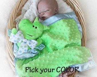 Minky Dragon Security Blanket, Lovey Blanket, Satin, Baby Blanket, Dragon Stuffed Animal, Dragon Toy Customize Color Add Monogramming