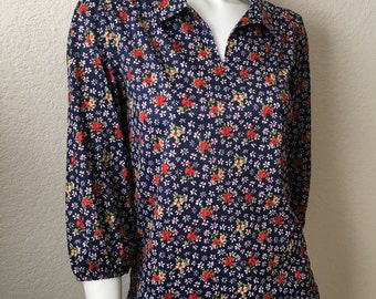 Vintage Women's 70's Floral Blouse, Navy Blue, Floral, Polyester, Long Sleeve (S/M)