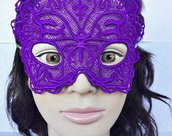 Purple Butterfly Lace Mask