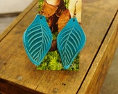 """Earrings 3"""" Turquoise Blue Leather Leaf, Woodsy, Leaves, Autumn, Fall, Unique, Handmade, Lightweight, Soft, Dangle, Woodland"""