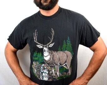 Vintage 90s Antler Deer Tee Shirt Tshirt