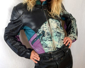 Vintage 90s Leather Biker Motorcycle Rocker Jacket Coat and Pants Outfit - HEIN GERICKEN LEATHER Women's Biker