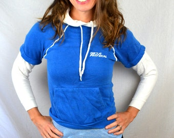 Awesome Vintage 80s Let's Get Physical XS Small 1980s Blue White Working Out Sweatshirt