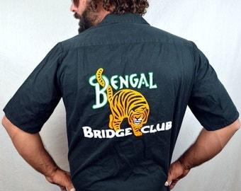 Vintage 80s Embroidered Bengal Tiger Button Up Shirt -Banana Rebublic