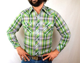 Vintage Hustler Pearl Snap Western Plaid Button Up Country Shirt