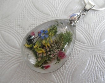 Pink Veronica,Forget-Me-Not,Sweet Yellow Clover,Queen Anne's Lace-Glass Teardrop Pressed Flower Pendant-Gifts Under 35