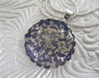 Queen Anne's Lace Pendant Atop Rich,Glowing Royal Purple Crown Pendant-Symbolizes Peace-Nature's Art-Gifts under 25