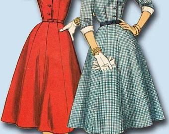 1950s Vintage Simplicity Sewing Pattern 1427 Misses Shirtwaist Dress Size 33 B