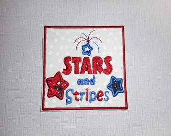 Free Shipping Ready to Ship Stars and Stripes Fabric iron on applique
