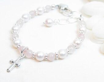 Baptism Bracelet // Christening Bracelet // Baby Bracelet // Baby Girl Bracelet // Pink Baby Bracelet // Child Cross Bracelet // Rose Quartz