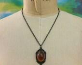 Topaz Victorian Jewelry Necklace Romantic Gothic Jewelry German Vintage Cabobchon I am Joolienn