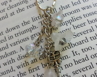 White & Clear Flower Dangle Necklace with Key and Faceted Sparkling Glass Beads - Adult or Child, Fairy, Costume, Faire