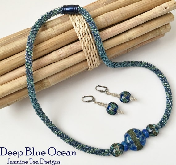 Blue Green Venetian Glass Beaded Kumihimo Necklace and Earrings,  22 inch Necklace with Magnetic Clasp, SALE
