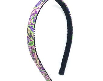 Paisley & Floral Skinny Headband - Purple, Pink, Green Headband - Big Girl Headband, Adult Headband - Preppy Colorful Hard Headband