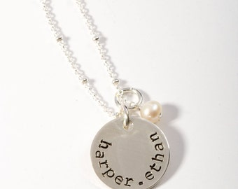 Hand Stamped Name Necklace, Children's Name Necklace, Push Present, Name Necklace, Kid Name Necklace, Push Gift, Birthstone Necklace