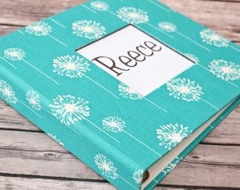 Baby Book, Baby Gift, Baby Album, Baby Memory Book, Baby Keepsake, Modern Baby Book, Turquoise Dandelion