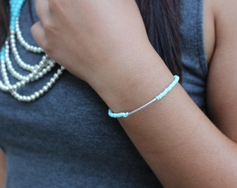 Sky Blue and Silver Bar Bracelet