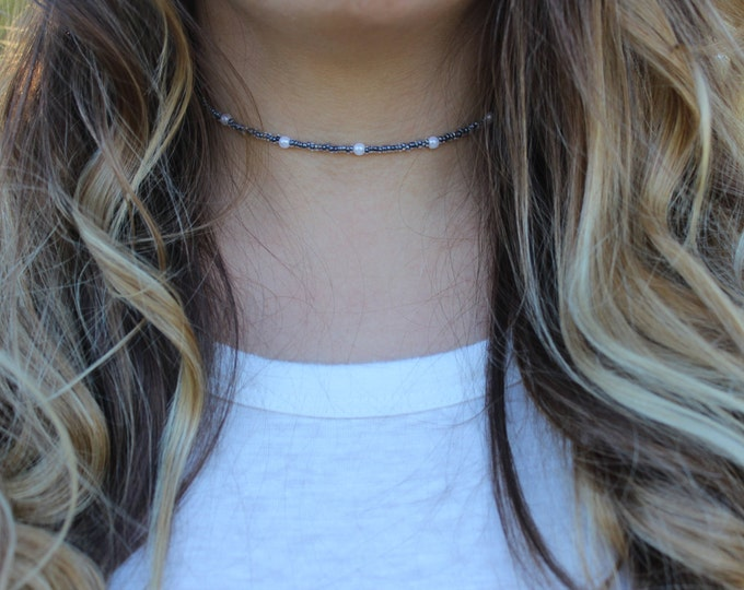 Blue Beaded Choker.