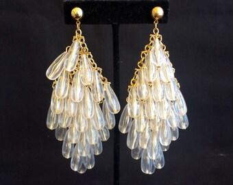 Stunning Vintage Lucite Tear Drop Dangling Chandelier Swinging Earrings