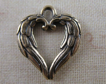 Folded Wings Charms Pendants Bronze Religious Jewelry Supplies FS8