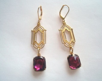 Amethyst Faceted Stone Gold Tone Dangle Earrings