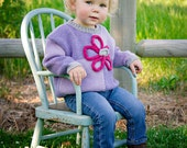 Childrens Clothing Girls -- Baby Sweater -- Pink and Purple Baby Sweater -- TILDEN STREET -- Hand Knit Sweater --Flower Sweater -- New Baby