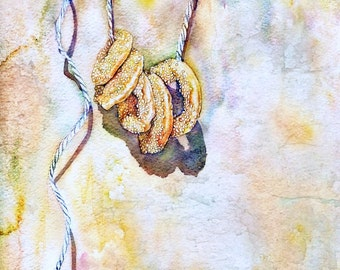 Watercolor painting, food art, kitchen art, Art Print from original painting-Sesame cookies on a String-Food Kitchen Decor