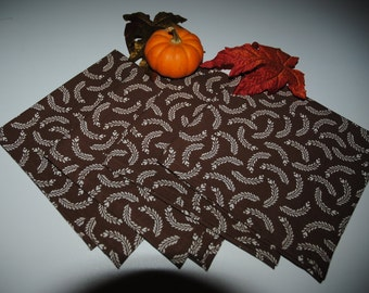 Brown Harvest Thanksgiving Cloth Napkins, Washable, Eco Friendly, Set of Four