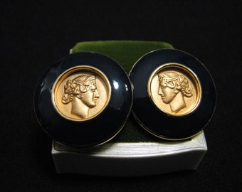 MINT Vintage Monet Round Gold Plated Black Enameled Greek Roman Coin Pierced Earrings