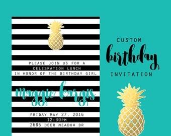 Pineapple Party Invitation, Custom  Tropical Birthday Party, Pineapple 5x7 Birthday Invitations, Woman Birthday Invite