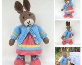 Mother Bunny - rabbit doll knitting pattern - INSTANT DOWNLOAD