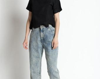 Vintage 80s High Waist Acid Wash Tapered Leg Jeans | 4/6