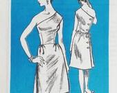 Vintage 1960s Pattern One Shoulder Back Buttoned Dress Prominent Designer Nat Kaplan Mail Order M106 Bust 34 Uncut