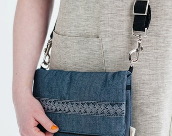 foldover bag, cross body bag, denim