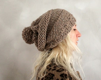 Slouchy Pom Pom Beanie / Womens Gift / Pom Pom Beanie / Slouchy Beanie / Womens Knit Hat / Gift for Her / Chunky Knit Hat  / Brown Beanie
