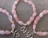 Rose Quartz Bracelet, Stretchy Stone Bracelet, Gemstone Jewelry, Pink Stone, Love Jewelry, Peace Sign, Hippie, Boho, Bohemian, Crystal