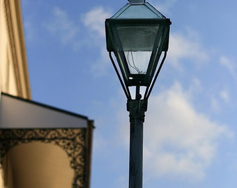 "New Orleans French Quarter Photograph. ""NOLA Street Lamp"" Picture, Fine Art Print. Mardi Gras. Home Decor."