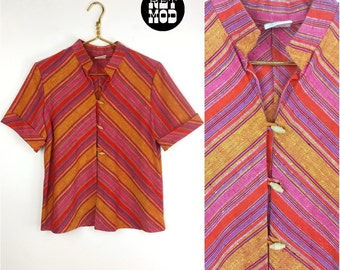 Awesome 70s Bright Pink, Red & Orange Striped Boho Ethnic Blouse Shirt Top!
