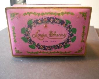 Vintage Tin - Louis Sherry New York - Chocolate Box - hinged lid - Shabby Chic Advertising Tin - 1930s lavendar box pink storage candy tin